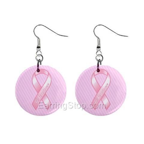 Pink Breast Cancer Awareness Ribbon #8 Dangle Earrings Jewelry 1 inch Buttons 12662271