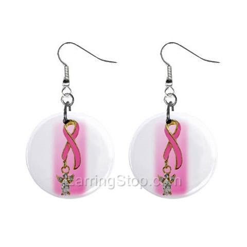 Pink Breast Cancer Awareness Ribbon #6 Dangle Earrings Jewelry 1 inch Buttons 12662574
