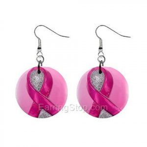 Pink Breast Cancer Awareness Ribbon #4 Dangle Earrings Jewelry 1 inch Buttons 12662715