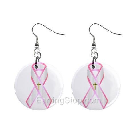 Pink Breast Cancer Awareness Ribbon #1 Dangle Earrings Jewelry 1 inch Buttons 12662721