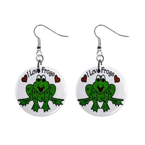 I Love Frogs  Dangle Earrings Jewelry 1 inch Buttons 12628340