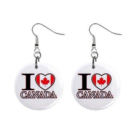 I Love Canada  Dangle Earrings Jewelry 1 inch Buttons 12628332