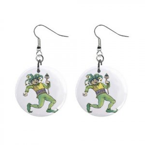 Jester Dangle Button Earrings Jewelry 1 inch Round 12779545