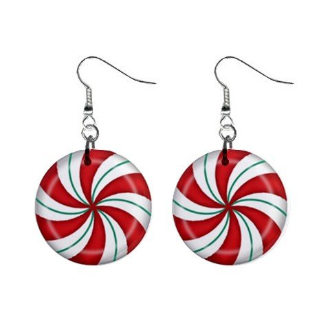 Peppermint Candy Dangle Button Earrings Jewelry 1 inch Round 12709341