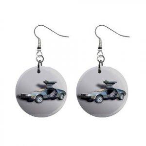 Delorean Dangle Button Earrings Jewelry 1 inch Round 12779143