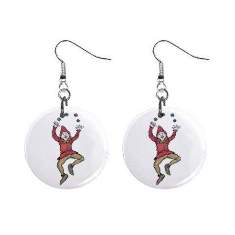 Juggler Dangle Button Earrings Jewelry 1 inch Round 12779547