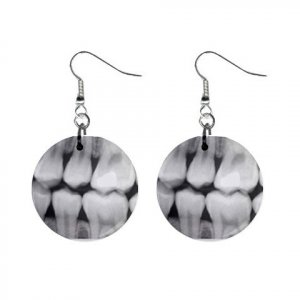 Dental X-Ray #2 Dangle Button Earrings Jewelry 1 inch Round 12779146