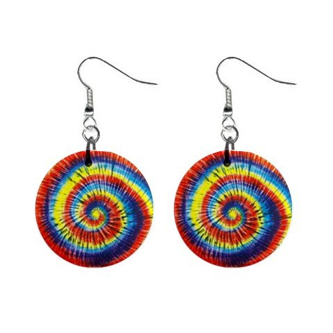 Tie Dye Swirl Dangle Button Earrings Jewelry 1 inch Round 12709759