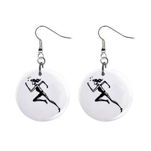 Girl Running Track Dangle Button Earrings Jewelry 1 inch Round 12781940