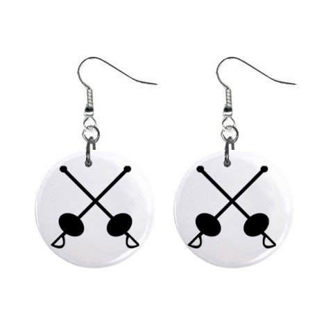 Fencing #3 Dangle Button Earrings Jewelry 1 inch Round 12779150