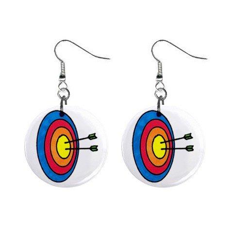 Archery Dangle Button Earrings Jewelry 1 inch Round 12779129