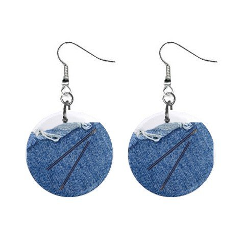 Denim Zipper Dangle Button Earrings Jewelry 1 inch Round 12731301