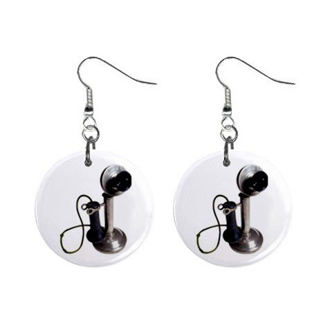 Old Fashion Telephone Phone Dangle Button Earrings Jewelry 1 inch Round 12781842