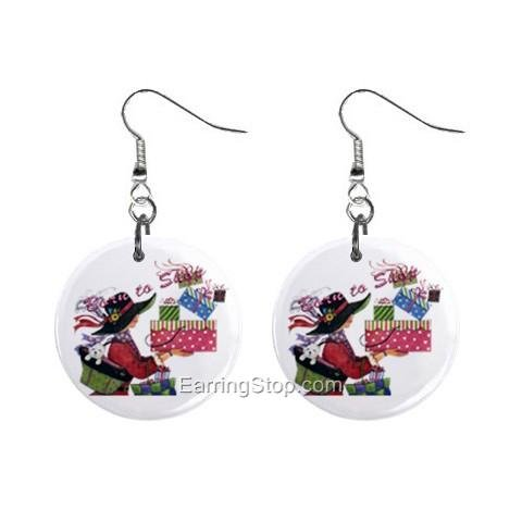 Born To Shop Dangle Button Earrings Jewelry 1 inch Round 12734841