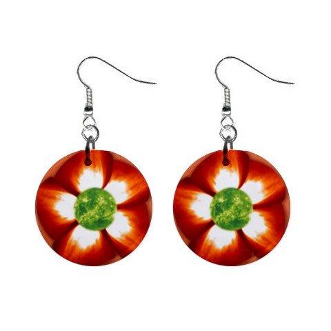 Flower #3 Dangle Button Earrings Jewelry 1 inch Round 12693483