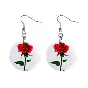 Single Red Rose Dangle Button Earrings Jewelry 1 inch Round 12709548