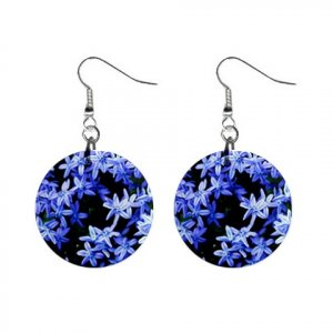 Blue Flowers Dangle Button Earrings Jewelry 1 inch Round 12693690