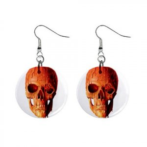 Wax Skull  Dangle Button Earrings Jewelry 1 inch Round 12894089