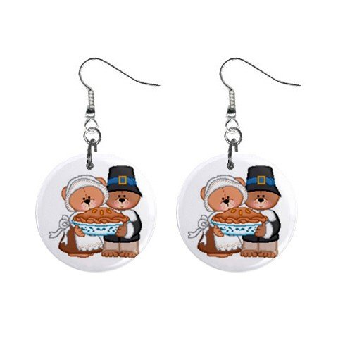 Thanksgiving Bears Dangle Button Earrings Jewelry 1 inch Round 12894134
