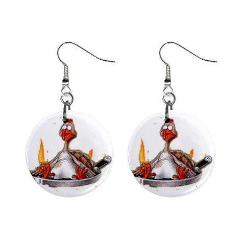 Turkey Fry Thanksgiving Dangle Button Earrings Jewelry 1 inch Round 12894132