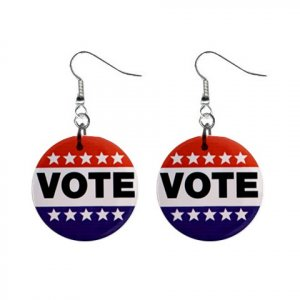 VOTE  Dangle Button Earrings Jewelry 1 inch Round 12709966