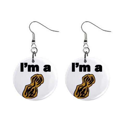 I Am A Nut Dangle Button Earrings Jewelry 1 inch Round 12779182