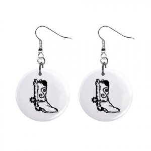 Cowboy Boot Dangle Button Earrings Jewelry 1 inch Round 12779134