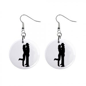 Cowboy & Cowgirl  Dangle Button Earrings Jewelry 1 inch Round 12779142