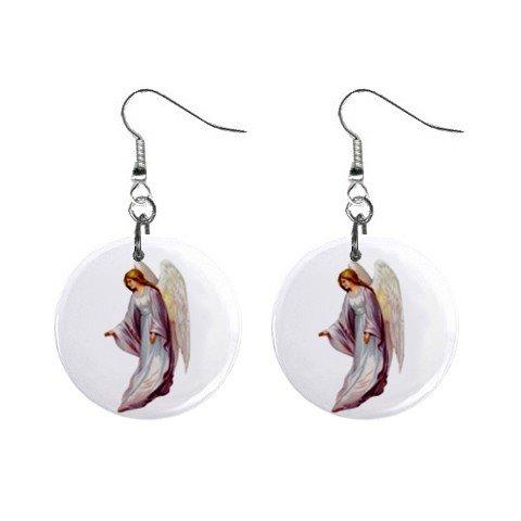 Angel Dangle Button Earrings Jewelry 1 inch Round 12690559