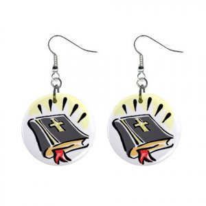 Religious Bible #2 Dangle Button Earrings Jewelry 1 inch Round 12781625