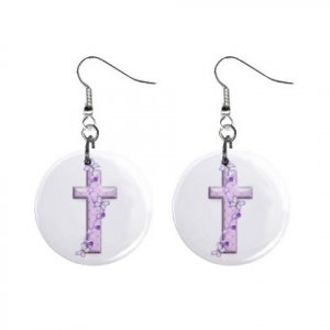 Religious Cross #2 Dangle Button Earrings Jewelry 1 inch Round 12792512