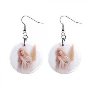 Angel Mist Dangle Button Earrings Jewelry 1 inch Round 12792514