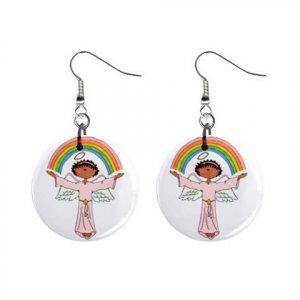 Rainbow Angel Dangle Button Earrings Jewelry 1 inch Round 12792508