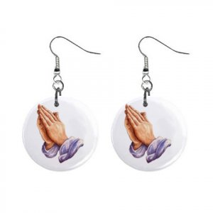 Praying Hands  Dangle Button Earrings Jewelry 1 inch Round 12792509