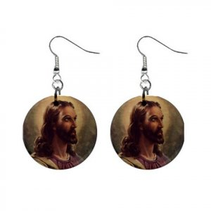 Religious Jesus #6 Dangle Button Earrings Jewelry 1 inch Round 12781829