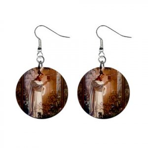 Religious Jesus Knocking on Door #2 Dangle Button Earrings Jewelry 1 inch Round 12781825