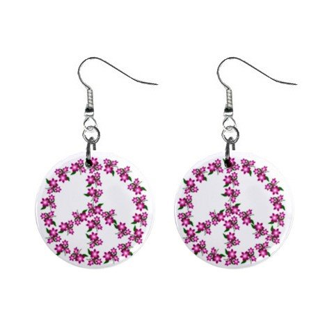 Peace Sign Pink Flowers  Dangle Button Earrings Jewelry 1 inch Round 12709327