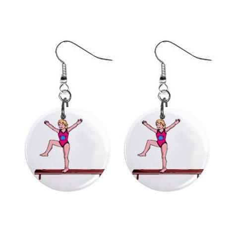 Gymnastics Gymnast #6 Dangle Button Earrings Jewelry 1 inch Round 12779172