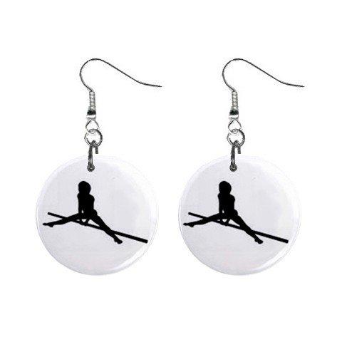 Gymnastics Gymnast #5 Dangle Button Earrings Jewelry 1 inch Round 12779171