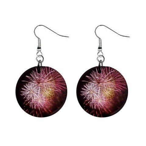 Fireworks 4th of July  Dangle Button Earrings Jewelry 1 inch Round 12693471