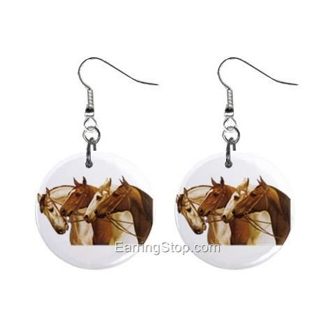 Horse Horses Dangle Button Earrings Jewelry 1 inch Round 12734844