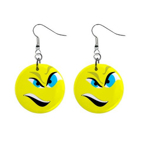 Angry Smiley Face #2 Dangle Button Earrings Jewelry 1 inch Round 12779128
