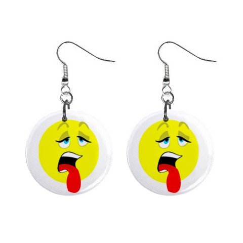 Exhausted Smiley Face Dangle Button Earrings Jewelry 1 inch Round 12779148