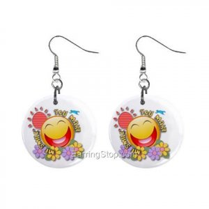 Smilie Face  Dangle Button Earrings Jewelry 1 inch Round 12734941