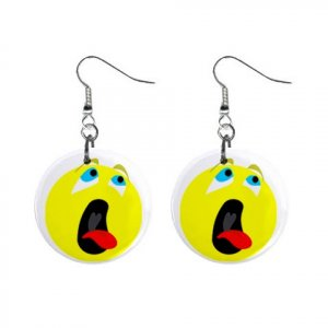 Bored Smiley Face Dangle Button Earrings Jewelry 1 inch Round 12779135