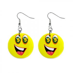 Greed Smiley Face Dangle Button Earrings Jewelry 1 inch Round 12779153