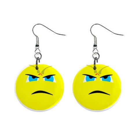Angry Smiley Face Dangle Button Earrings Jewelry 1 inch Round 12779127