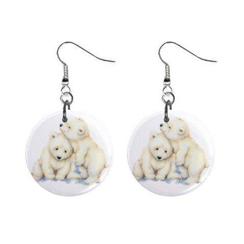 Cute Polarbears Polar Bears Dangle Button Earrings Jewelry 1 inch Round 12731222