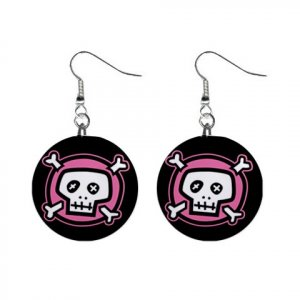 """New Pink Skull and Bones Goth 1"""" Round Button Dangle Earrings Jewelry 13081447"""
