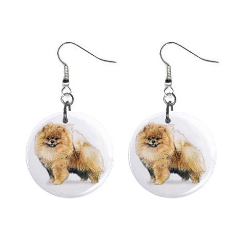 "New Dog Pomeranian 1"" Round Button Dangle Earrings Jewelry 13019069"